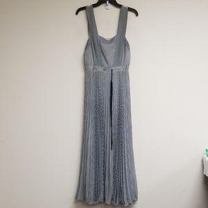 Anthropologie Maeve Navy/White Striped Maxi Dress